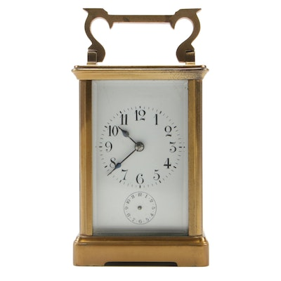French Brass Carriage Clock with Beveled Glass, Late 19th/Early 20th Century