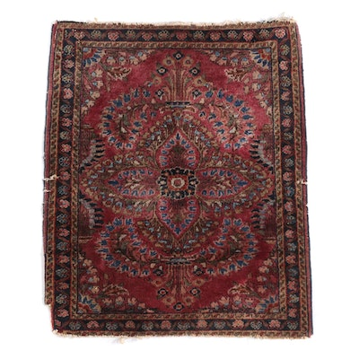 1'11 x 2'4 Hand-Knotted Persian Sarouk Wool Rug, circa 1905