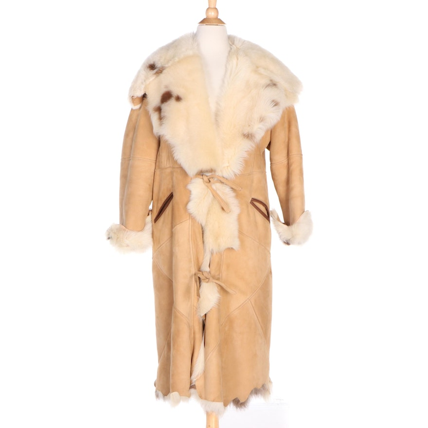 French Creek Sheep & Wool Company Shearling Tie-Front Coat