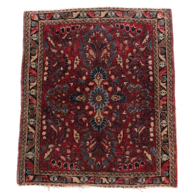 1'11 x 2'5 Hand-Knotted Persian Sarouk Wool Rug, circa 1905