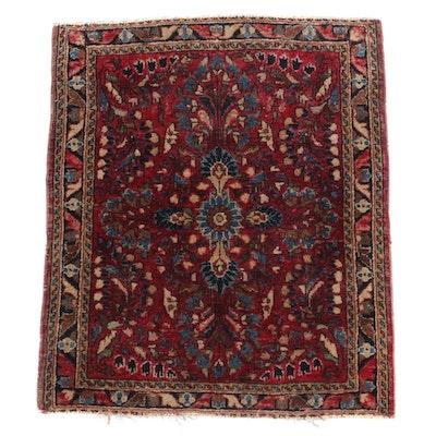 1'11 x 2'5 Hand-Knotted Persian Sarouk Wool Rug, circa 1905