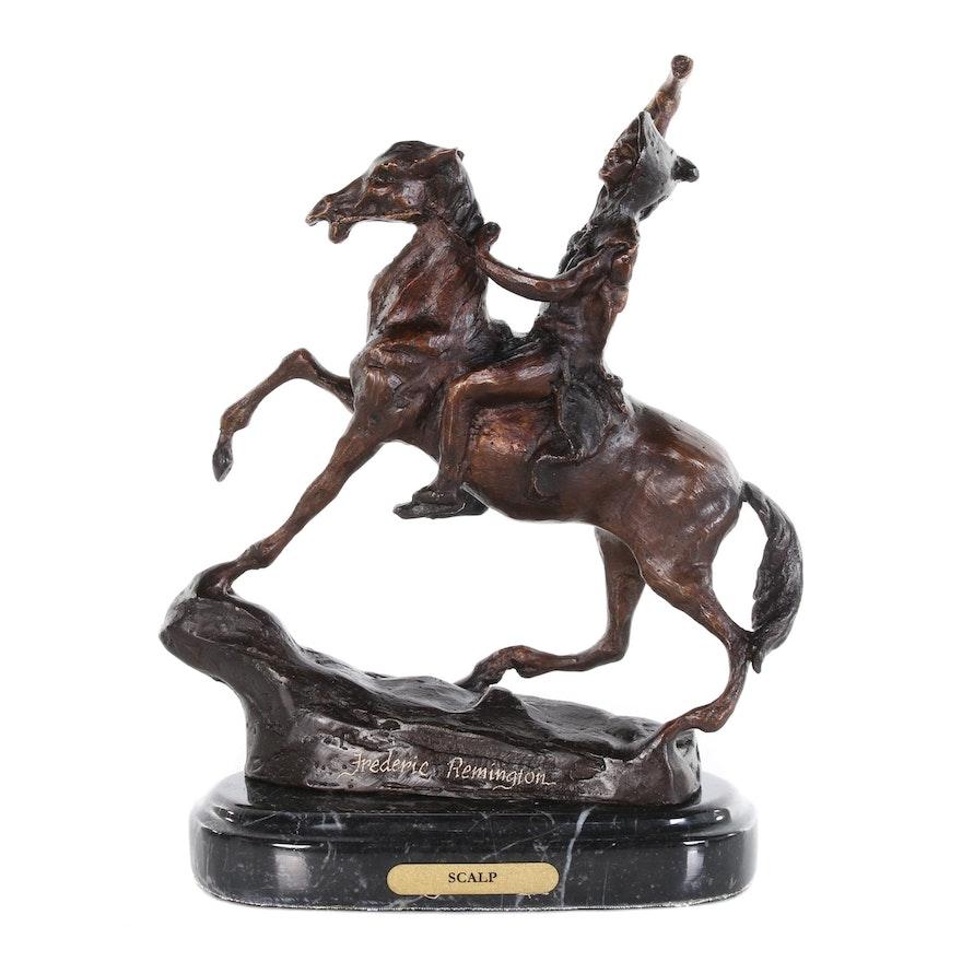 """Brass Sculpture after Frederic Remington """"Scalp"""""""
