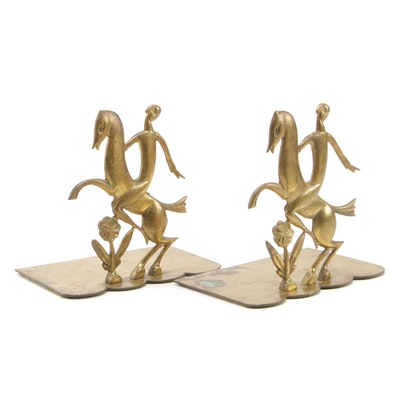 Modernist Style Figural Brass Bookends, Mid to Late 20th Century