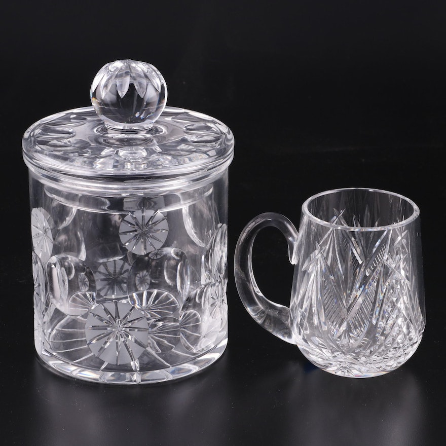 Waterford Crystal Tankard with Cut Crystal Biscuit Jar, Mid to Late 20th Century