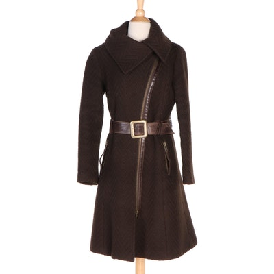 Mackage Brown Chevron Knit Wool Princess Coat with Leather Trim and Belt