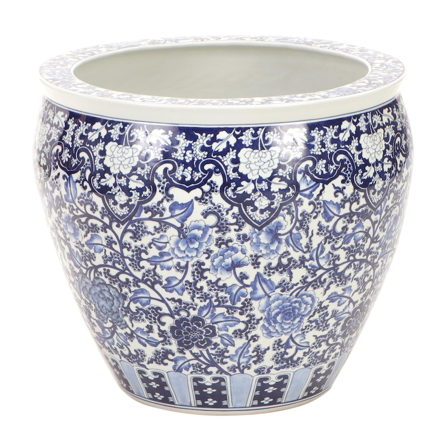 Chinese Hand-Thrown and Painted Blue and White Porcelain Fish Bowl Jardiniere