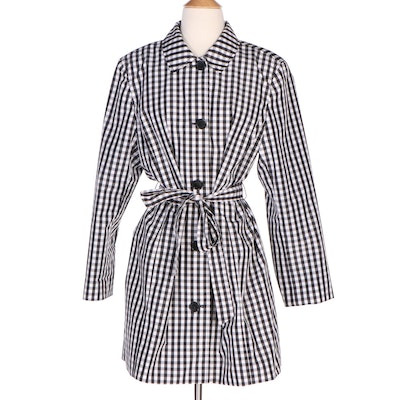 Talbots Petite Black and White Gingham Print Belted Raincoat