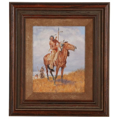 Clyde Heron Oil Painting of Native Americans on Horseback