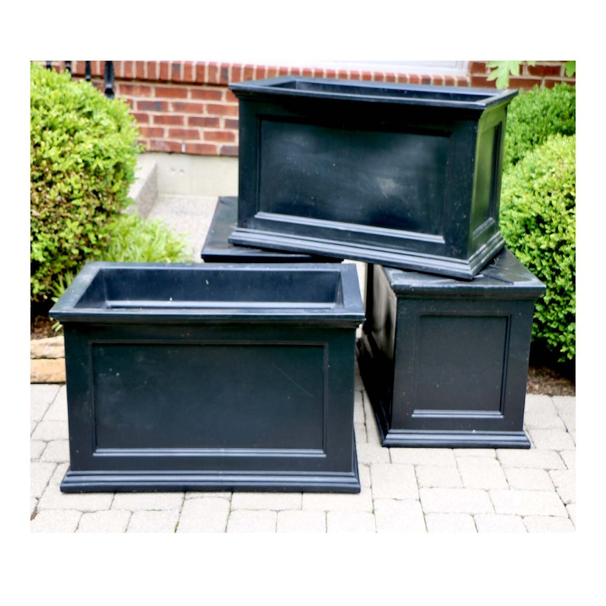 Frontgate Dark Charcoal Plastic Patio Planters