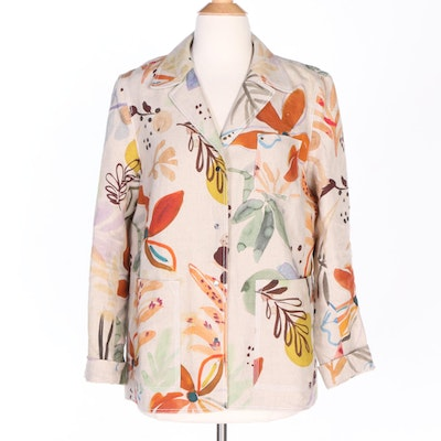 Lafayette 148 New York Linen Jacket in Multicolor Florals and Foliate Motif