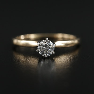 18K Yellow Gold Diamond Ring With Platinum Accents