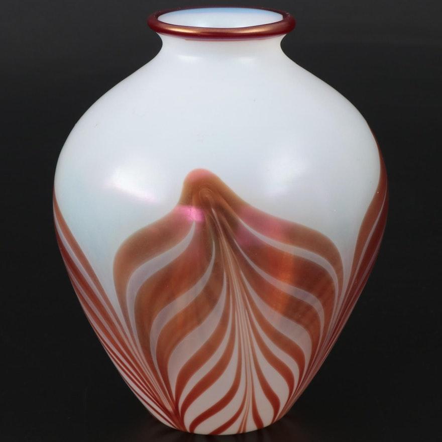 Handblown Iridescent Opaline Pulled Feather Art Glass Vase