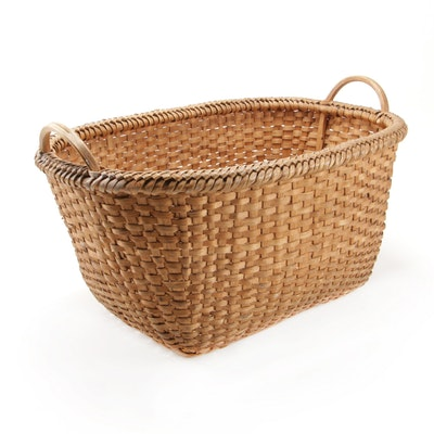 Handwoven Handled Basket, Early 20th Century