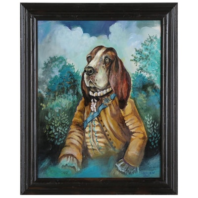Acrylic Painting of Anthropomorphic Hound Dog