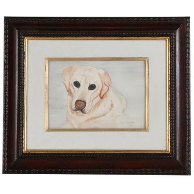Clyde Hamilton Watercolor Portrait of Golden Labrador Retriever