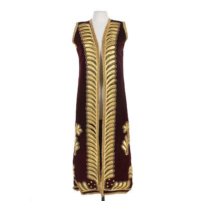 Beaded Burgundy Velvet and Gold Embroidered Full-Length Vest, Vintage