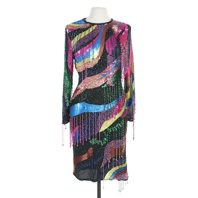 Fringe Beaded and Sequined Silk Cocktail Dress
