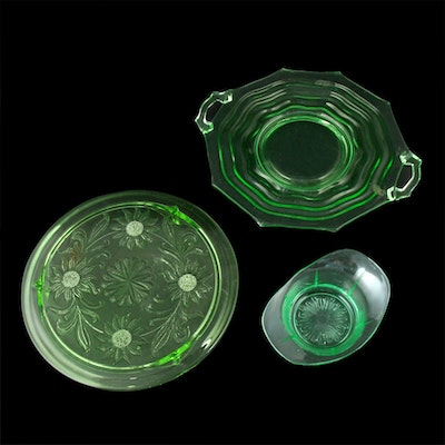 "Jeannette ""Sunflower"" and Other Uranium Glass Serveware"