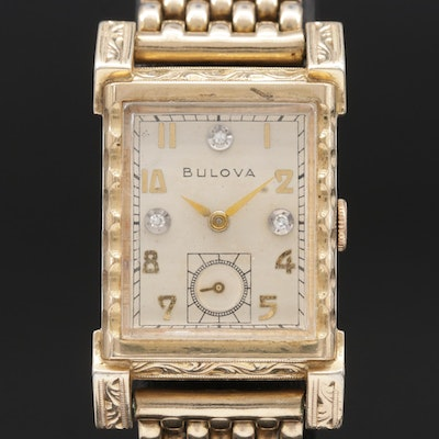 1950s Bulova Diamond Dial Fancy Lugs Stem Wind Wristwatch