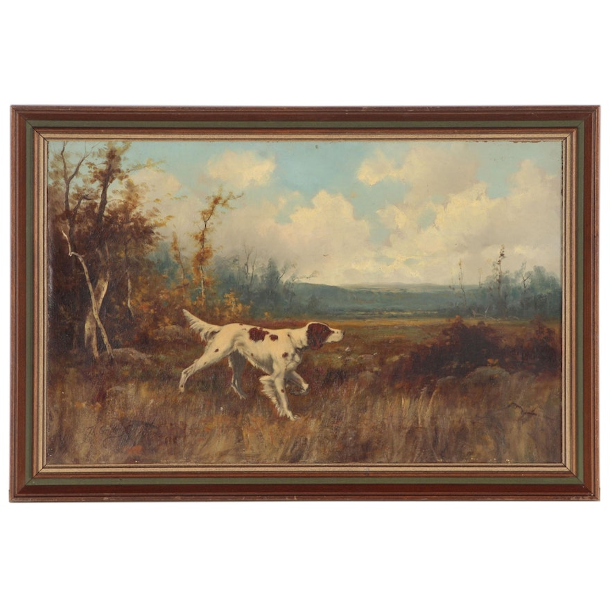 Thomas Griffin Oil Painting of Pointer Dog in Landscape