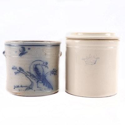 Robinson Ransbottom and Rowe Pottery Works Stoneware Crocks