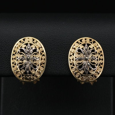 Sterling Silver Marcasite Earrings Featuring Diamond Cut and Filigree Design