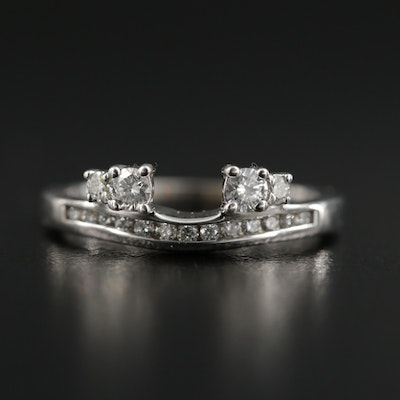 14K White Gold Diamond Shadow Band
