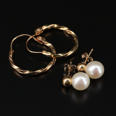 14K Yellow Gold Hoop Earrings and Cultured Pearl Studs