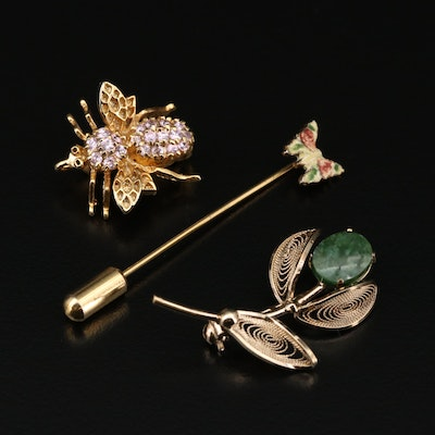 Sterling Silver and Metal Nephrite and Cubic Zirconia Brooches and Pin
