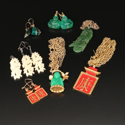 Vintage Asian Earrings and Necklace Selection With Trifari and Gemstone Accents