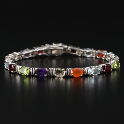 Sterling Silver Garnet, Peridot, Amethyst and Topaz Link Bracelet