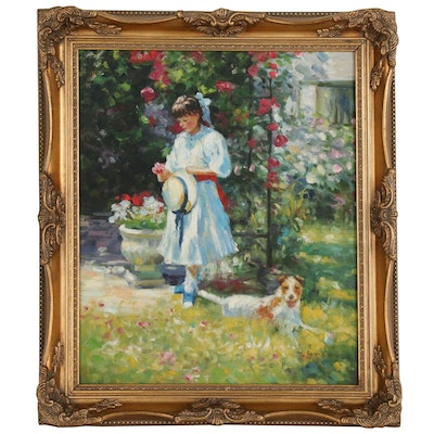 Roger Garnier Impressionist Style Oil Painting of Girl and Dog in Garden