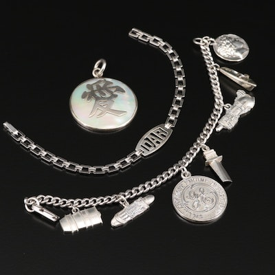 """Post War Sterling Jewelry Including """"Daughters of the Revolution"""" Bracelet"""