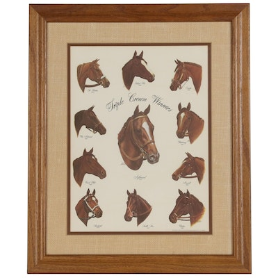 "Offset Lithograph after Letitia de Rham ""Triple Crown Winners"""