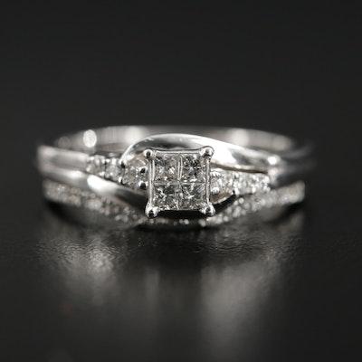 10K Gold Diamond Ring and 14K Diamond Band