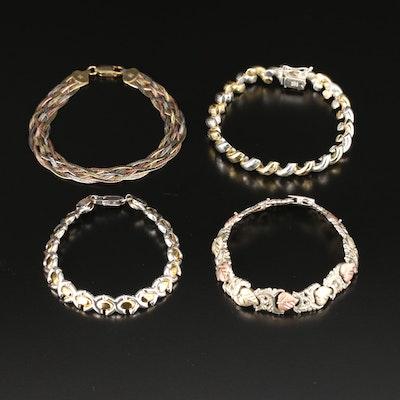 Sterling Silver Bracelets Featuring Braided Herringbone and Foliate Motifs