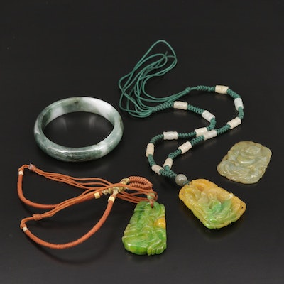 Carved Jadeite Pendants and Bangle Bracelet