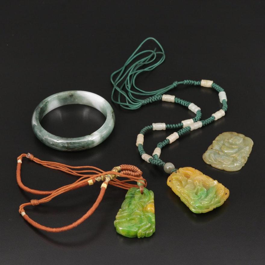 Carved Jadeite Pendants and Bangle Bracelet