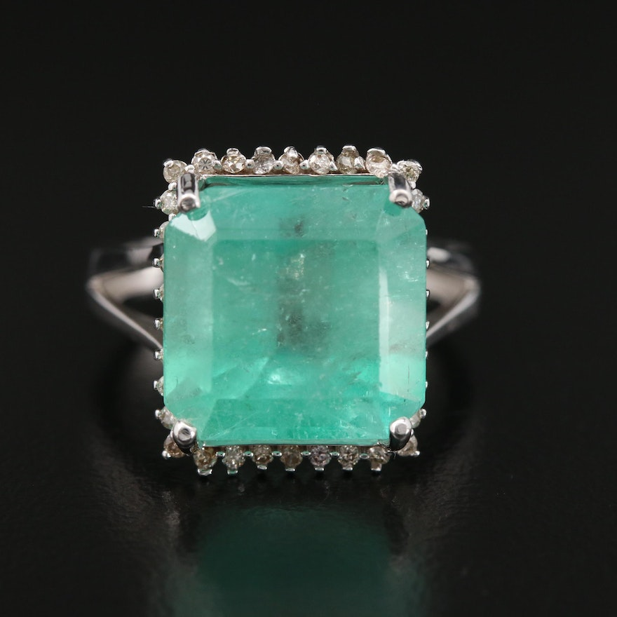 14K Gold 8.71 CT Emerald and Diamond Halo Ring