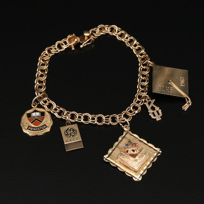 Vintage 14K Gold Charm Bracelet with Graduation Cap and General Electric Charms