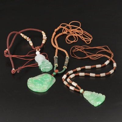 Asian Style Carved Jadeite Pendant Necklaces
