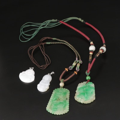 Asian Style Carved Jadeite Pendants and Necklaces