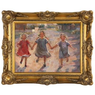 Oil Painting of Three Young Girls Playing in Street