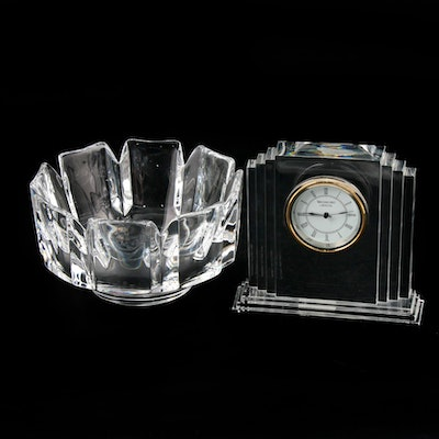"Waterford Crystal ""Metropolitan"" Mantle Clock and Orrefors ""Corona"" Bowl"