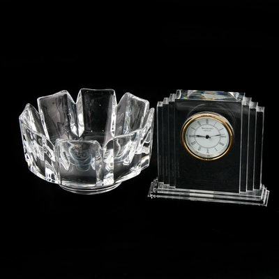 "Waterford Crystal ""Metropolitan"" Mantle Clock and Orrefors ""Corona"" Bowl"