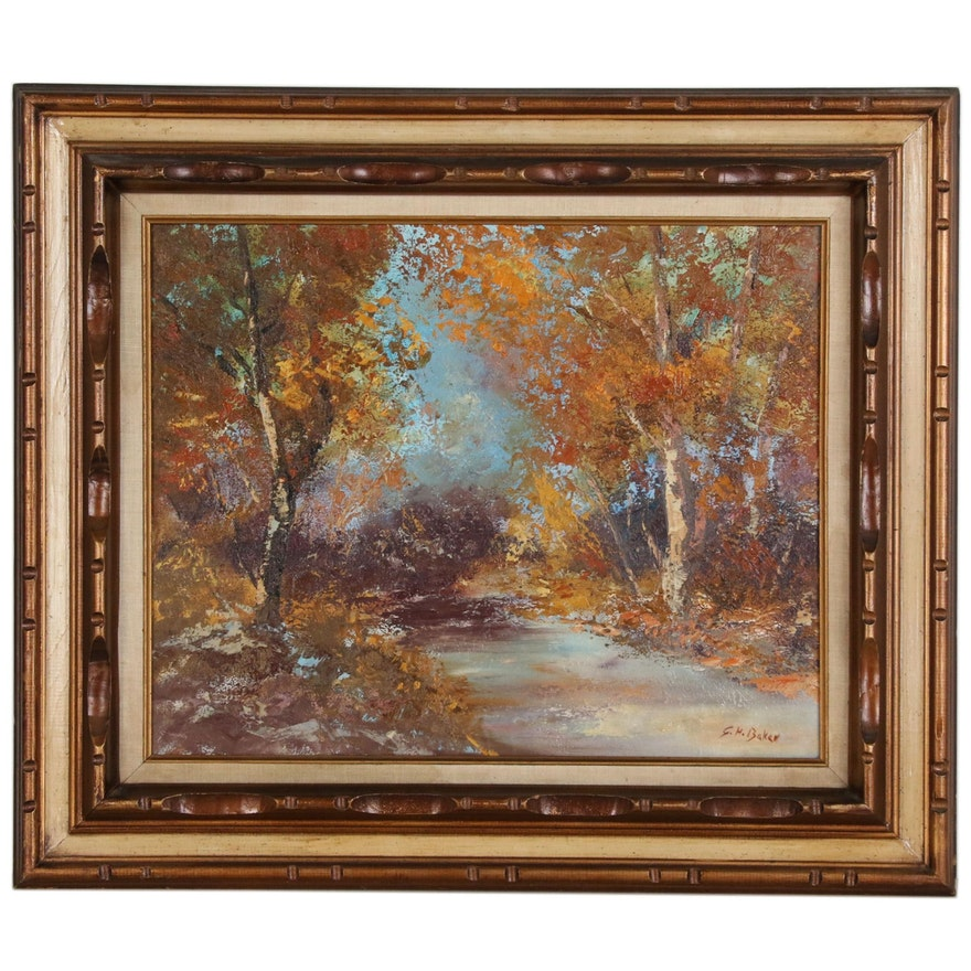 George Herbert Baker Autumn Landscape Oil Painting