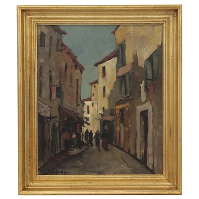 Marcel Godin Oil Painting of European Street Scene