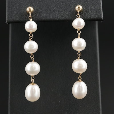 14K Gold Pearl Drop Earrings