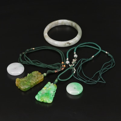 Asian Style Carved Jadeite Pendant and Bangle