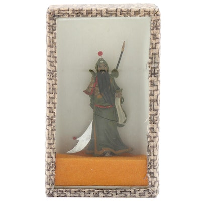 Chinese Guan Yu Figurine in Display Case